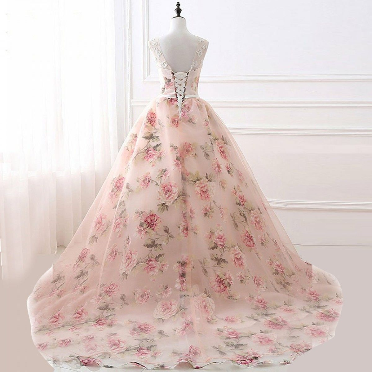 Aline round neck floral sweep train pink tulle prom dress with lace