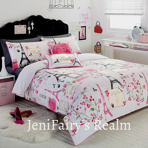 Paris Chic Eiffel Tower White Pink Grey Single Quilt Doona