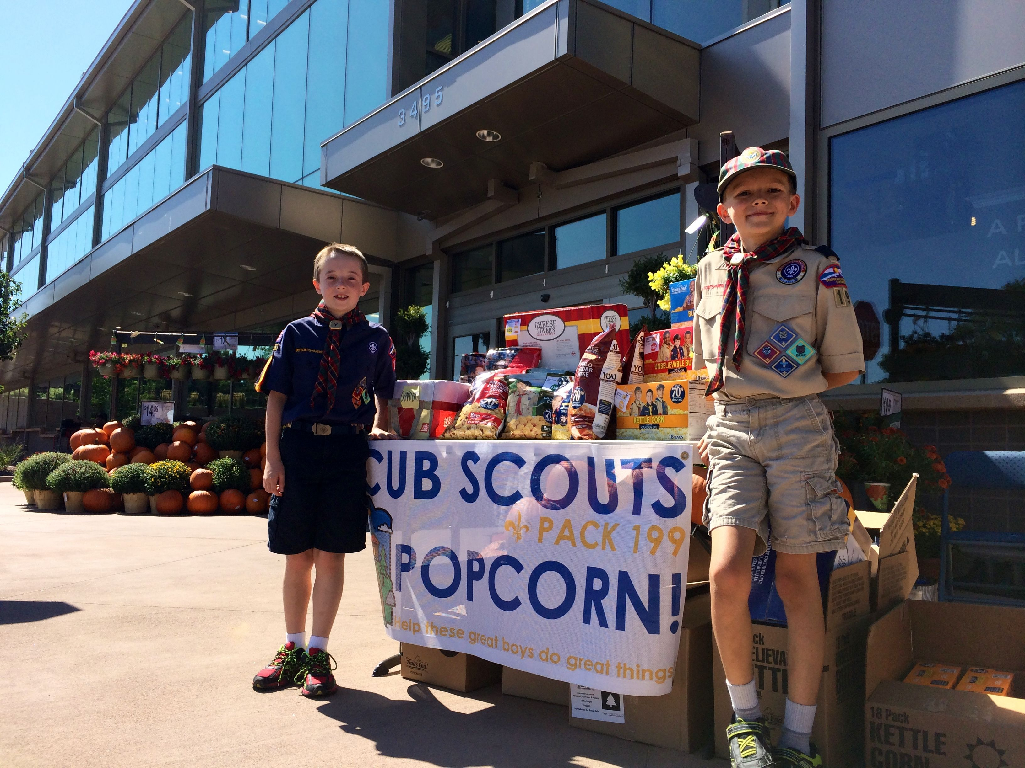 Cub Scouts Popcorn - Booth setup  The banner really helps people