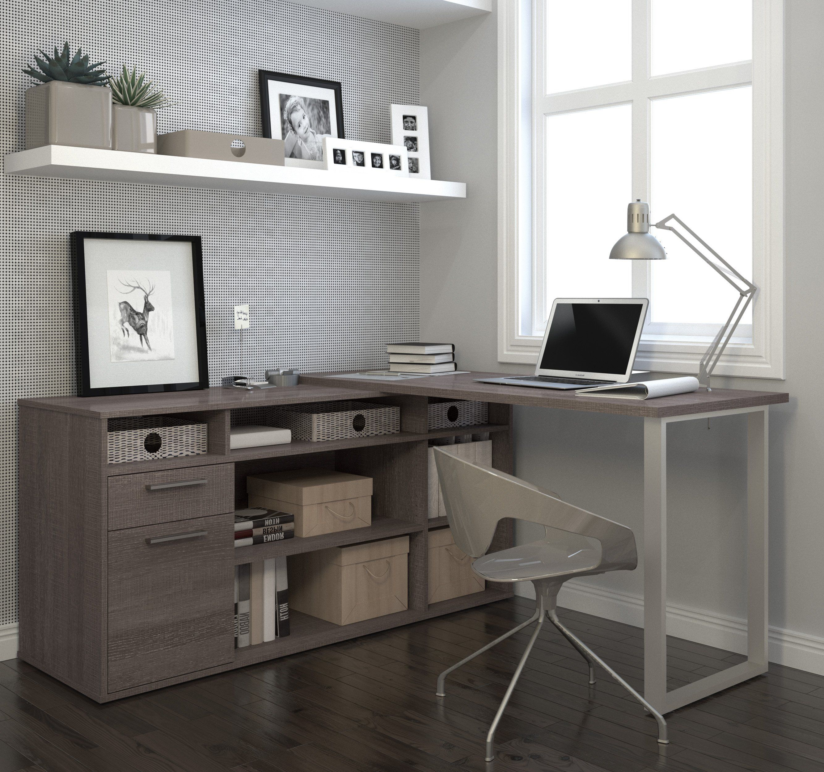 Modern lshaped desk with integrated storage in bark gray in