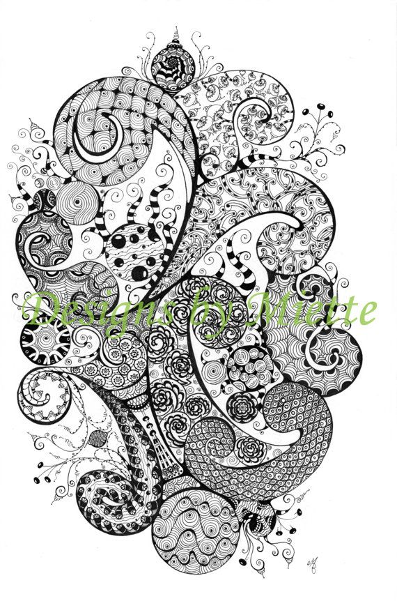Handcrafted Limited Edition Zentangle Drawing Print, Home Decor, Artisan Wall Art, unframed