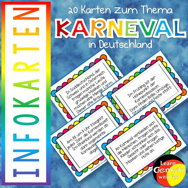 Informationskarten zu Karneval und Fasching 20 Karten mit wissenswerten Infos zum Thema Fasching und Karneval in Deutschland für den Deutschunterricht.