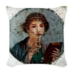 Sappho Woven Throw Pillow > ANCIENT ROME COLLECTION > www.cafepress.com/Purple_Yellow