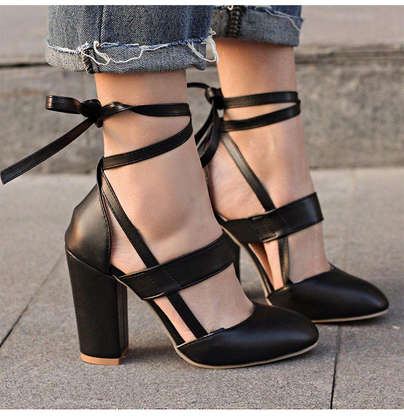 Womens Gladiator Ankle Strap Cuff High Heel Stilettos Sandals Black White Size