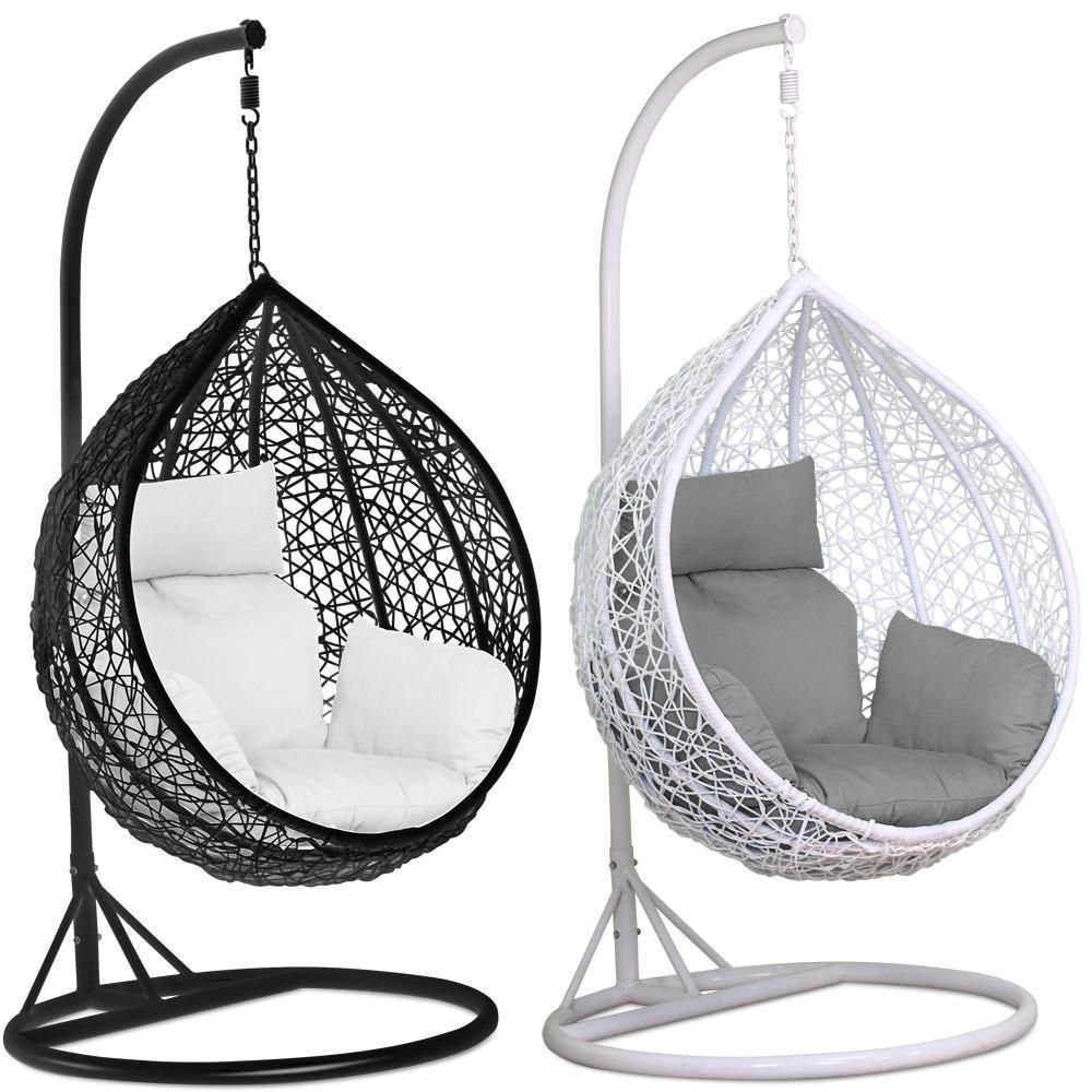 RATTAN SWING PATIO GARDEN BLACK WEAVE HANGING EGG CHAIR /& CUSHION OUTDOOR INDOOR