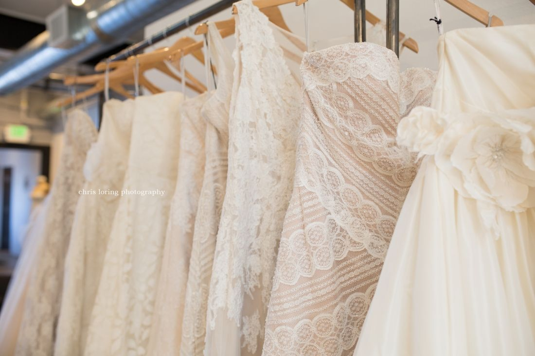 Some of the gorgeous lace and silk the a&be bridal salon in Denver