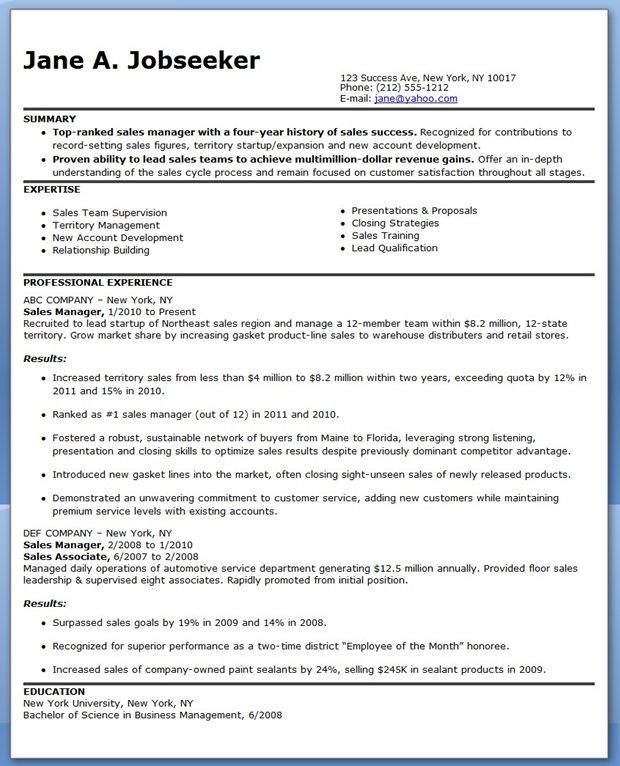 Sales Manager Resume Sample Marketing  Creative Resume Design