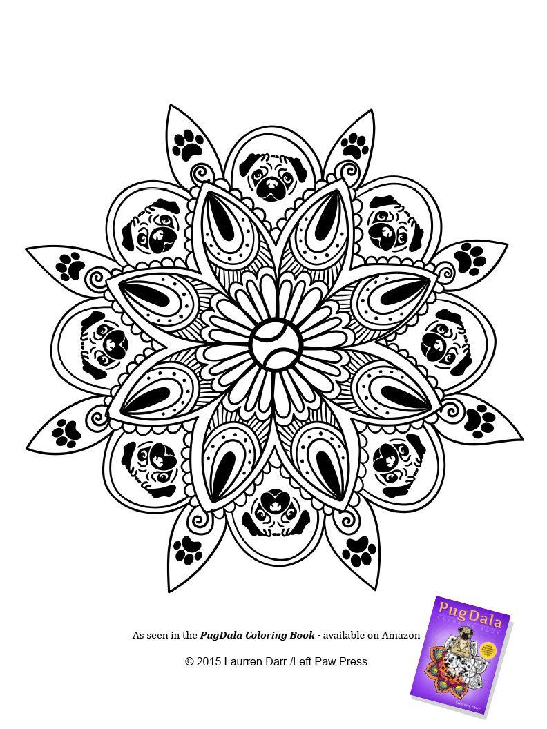 Sample PugDala (Pug Mandala) Page | Books Worth Reading | Pinterest