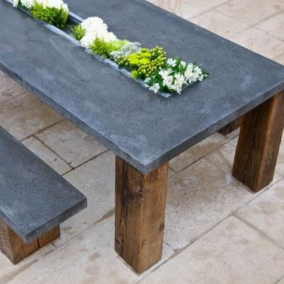 Concrete Table Similiar Design Could Be Used For Outdoor Bbq Area Concrete Outdoor Table Outdoor Table Decor Diy Patio Table