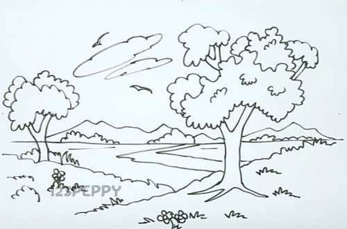 How To Draw Natural Landscape Jpg 500 330 Nature Drawing Nature Drawing For Kids Drawing For Kids