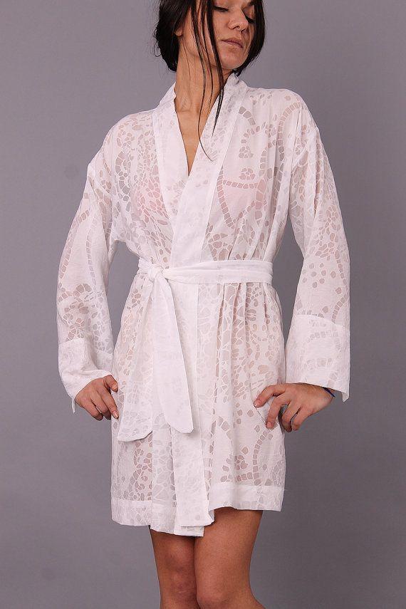 Dayana luxury short white cotton robe / bridesmaid robe by danteli ...