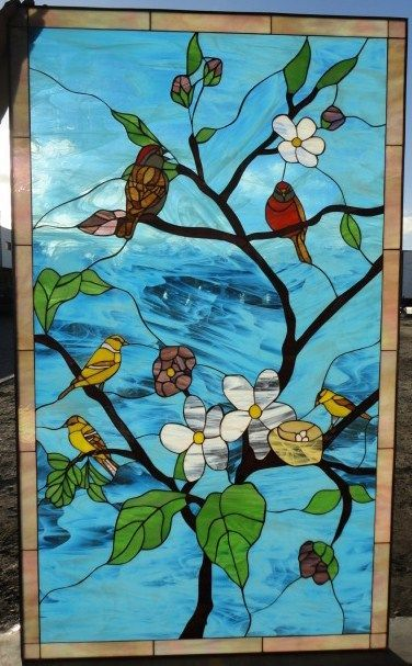 Bird Gathering Leaded Stained Glass Window -