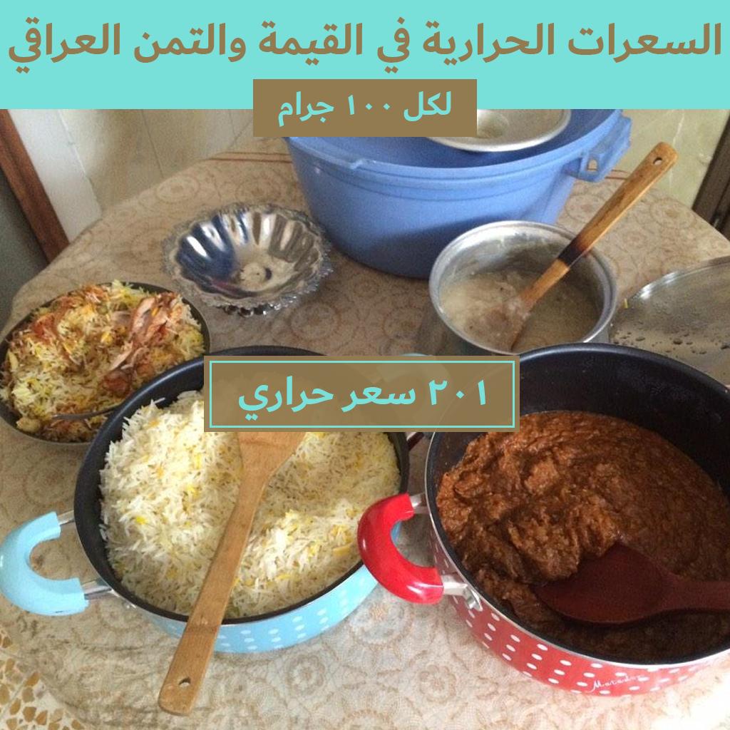 السعرات الحرارية في القيمة والتمن العراقي Nutrition Calorie Food