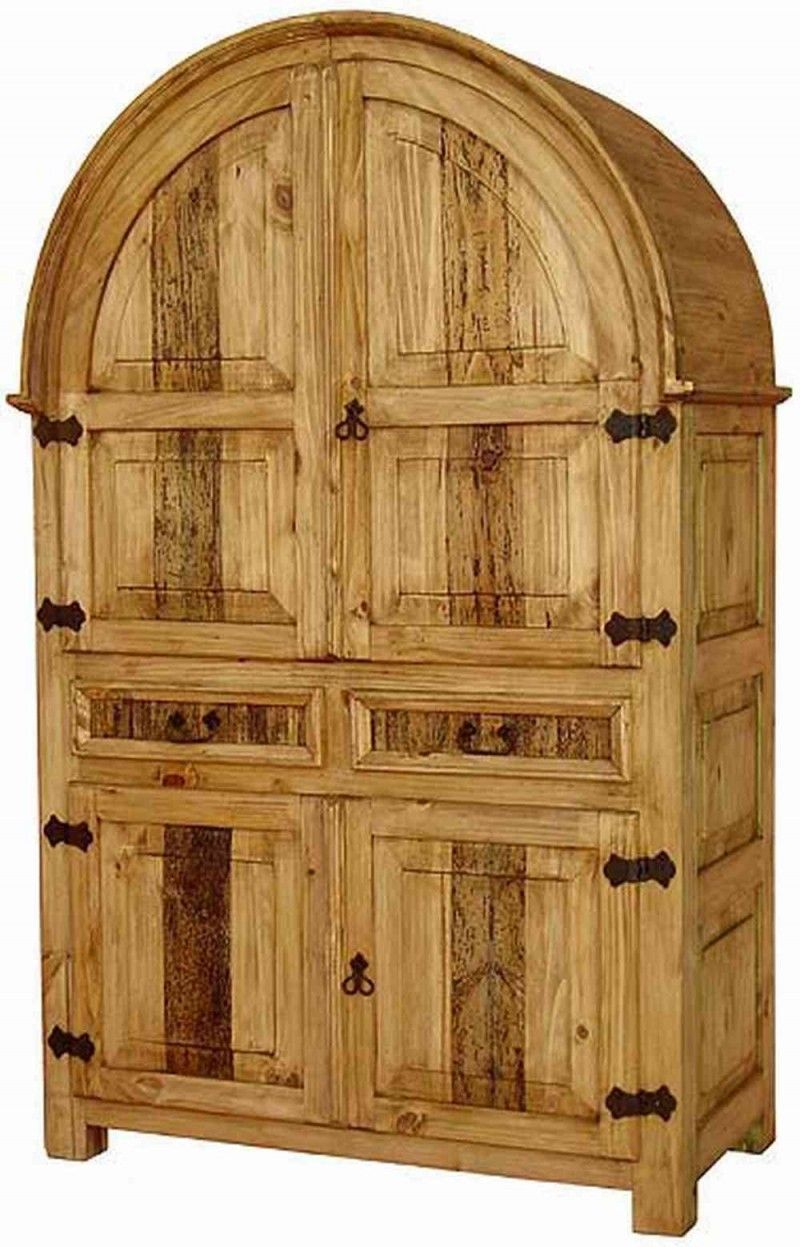 Rustic pine furniture curved armoire for various rustic design for your home