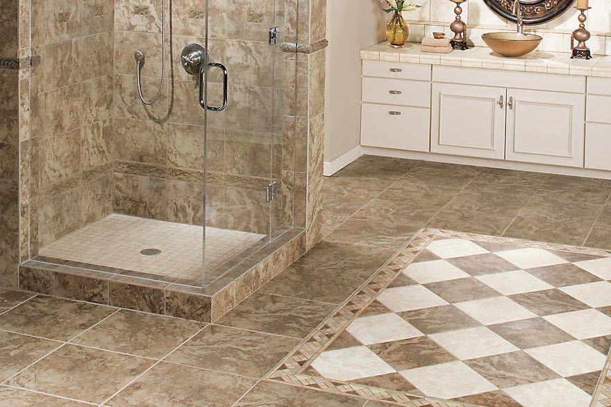 Bathroom, Bathroom Marble Look Ceramic Tiles Floor Walk In Shower ...