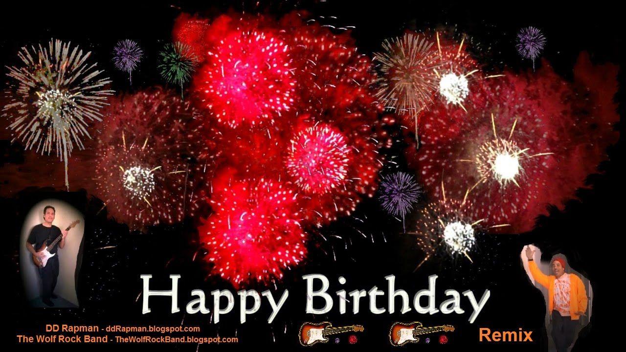 Happy Birthday Song Remix Rap Rock Hip Hop Fireworks Card