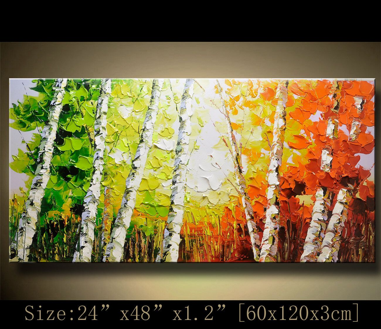 contemporary wall art, Palette Knife Painting,colorful tree painting ...
