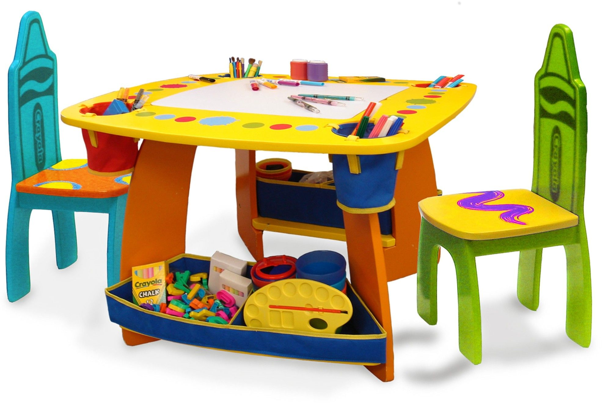 Crayola wooden kids 3 piece table and chair set includes a square table whiteboard 2 kids sized chairs two fabric storage bins 4 fabric cup holder