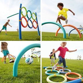 Use pool noodles to make fun outdoor games for the kids.: #summerfunideasforkids
