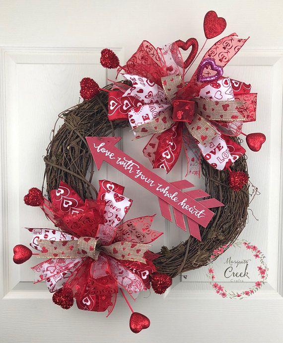 Valentines Wreath for Front Door, Valentines Bow ...