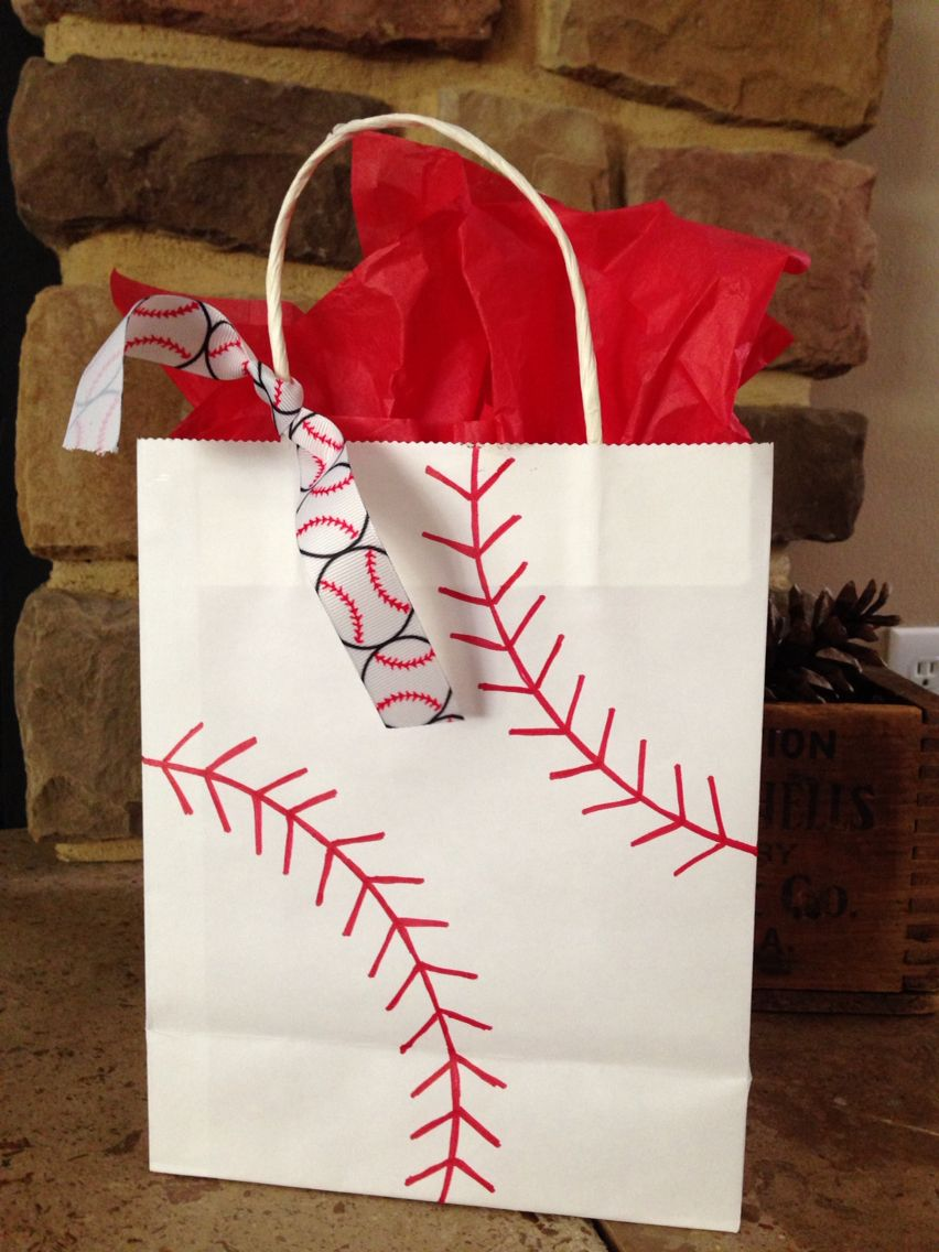Baseball gift bag & Baseball gift bag | Baseball Momma in 2019 | Baseball gifts Baby ...