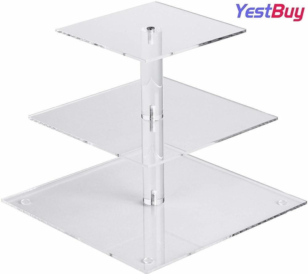 Yestbuy 3 Tier Clear Square Acrylic Tree Cupcake Tower Cake Stand