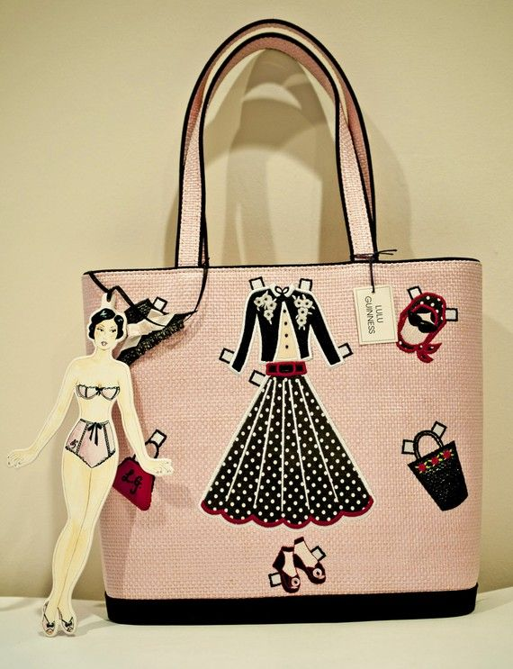 Beautiful Pink Lulu Guinness Designer Handbag Front Of Bag Is Sports A Paper Doll Lique In The Middle Surrounded By Following Liques