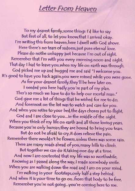 Letter from Heaven letter from heaven Pinterest