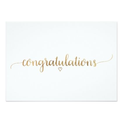 Simple Gold Calligraphy Congratulations Card Zazzle Com