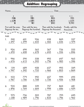 Extra Practice Three Digit Addition With Regrouping Worksheet Education Com Third Grade Math Worksheets Math Addition Math Addition Worksheets