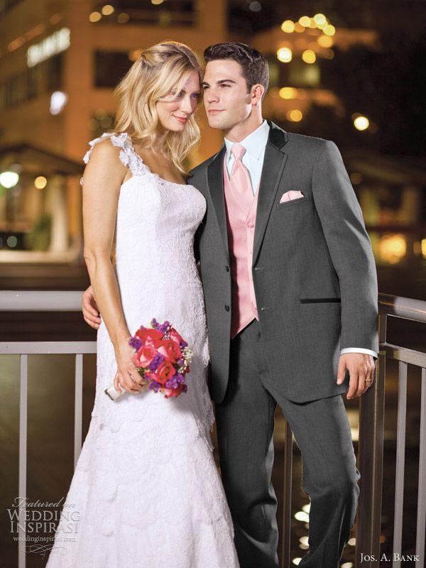Jos A Bank Groom Tuxedo Rental Steel Grey Wedding Suit