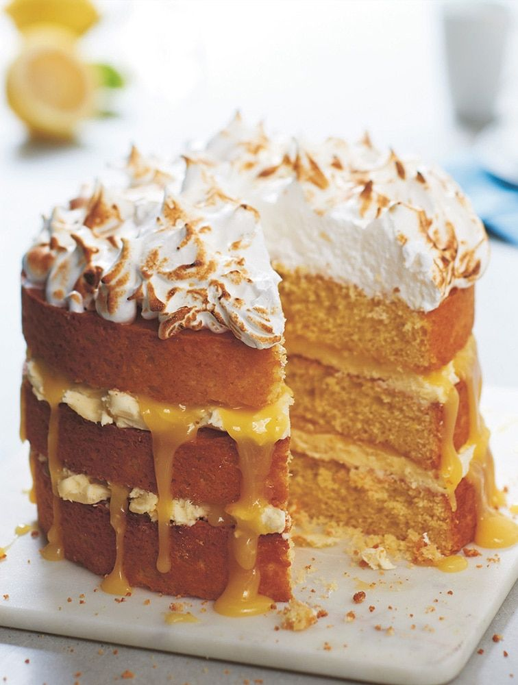 Groovy Jamies Lemon Meringue Layer Cake Recipe With Images Lemon Personalised Birthday Cards Beptaeletsinfo