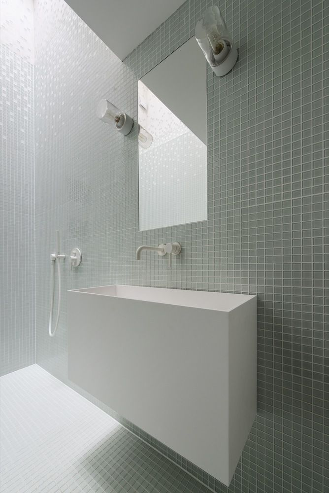 Minimal bathroom glass mosaic tiles floating sinkvanity