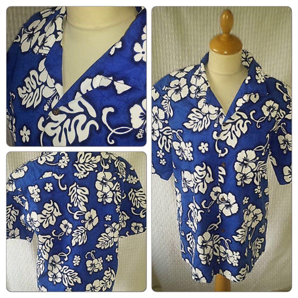 6ad8fe3e £6.99 Vintage 1940s 1950s style Rockabilly Hawaiian shirt mens size M chest  40