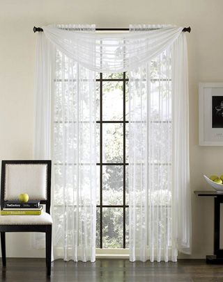 Flowy Chiffon Curtains With Long Valance Curtains White