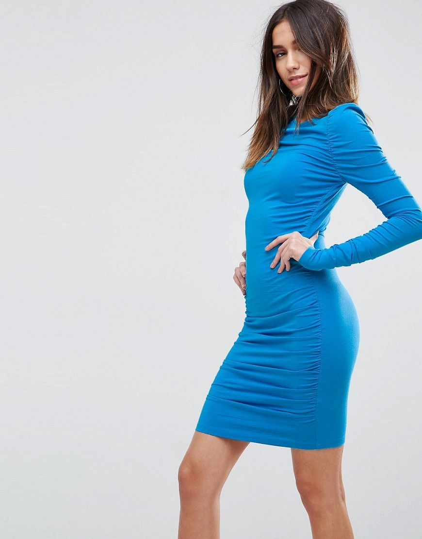 c87959d4f08cc ASOS Ruched Mini Bodycon Dress with Long Sleeve - Blue   Products ...