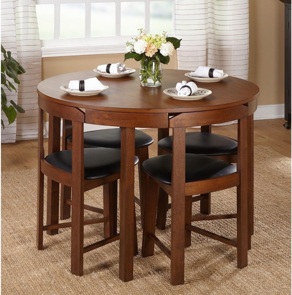 Round Dining Table Set For 4 Small 5 Piece Apartment living ...