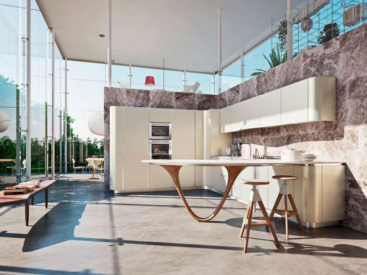 design kitchen italian%0A Change the dynamics of your kitchen with the OLA    Pininfarina Design   complete with a kitchen peninsula