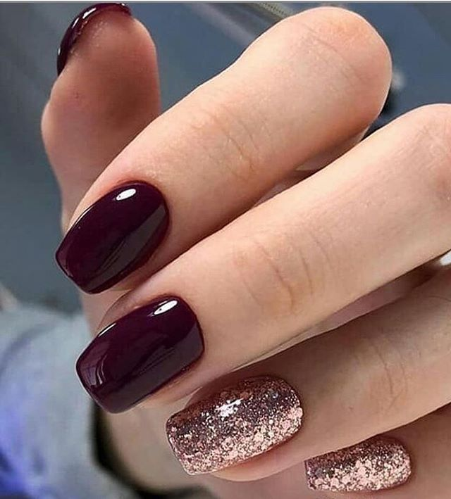 25 Best Winter Gel Nail Colors And Christmas Nail Ideas 2019 Short Acrylic Nails Designs Rose Gold Nails Gold Nails