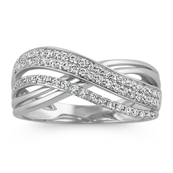 Round Diamond Crossover Ring In 14k White Gold Crossover Diamond Ring Crossover Ring Pave Diamond Jewelry