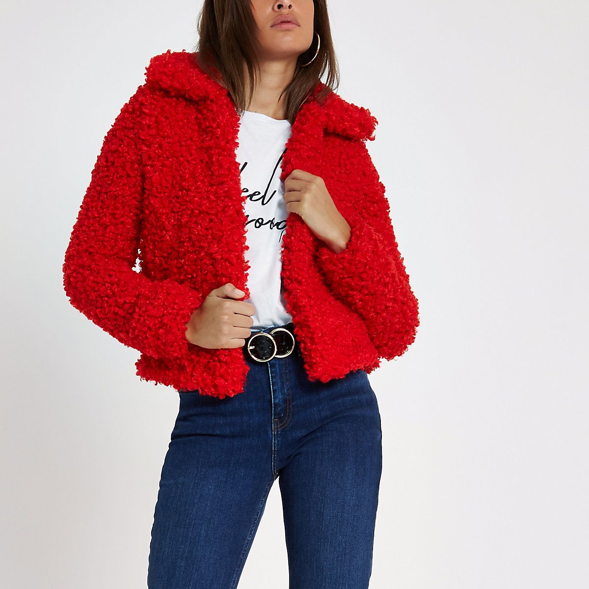 Red shearling faux fur cropped jacket Faux fur cropped