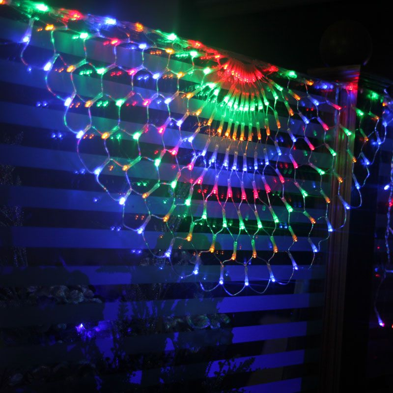 Fuloon 8 modes 504 led colorful indoor outdoor net peacock web string light lamp for christmas wedding party festival decoration colorful you can get