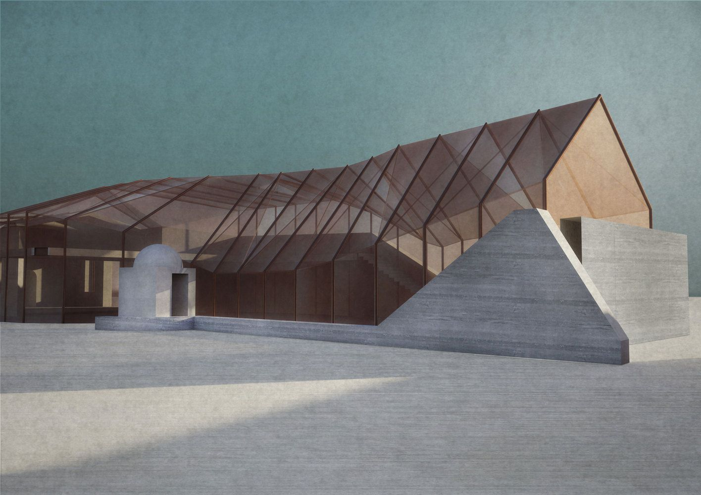 Gallery Of Re Designs Copper Colored Concrete Extension To Cyprus College Of Art 3 Concept Architecture Architecture Architecture Design