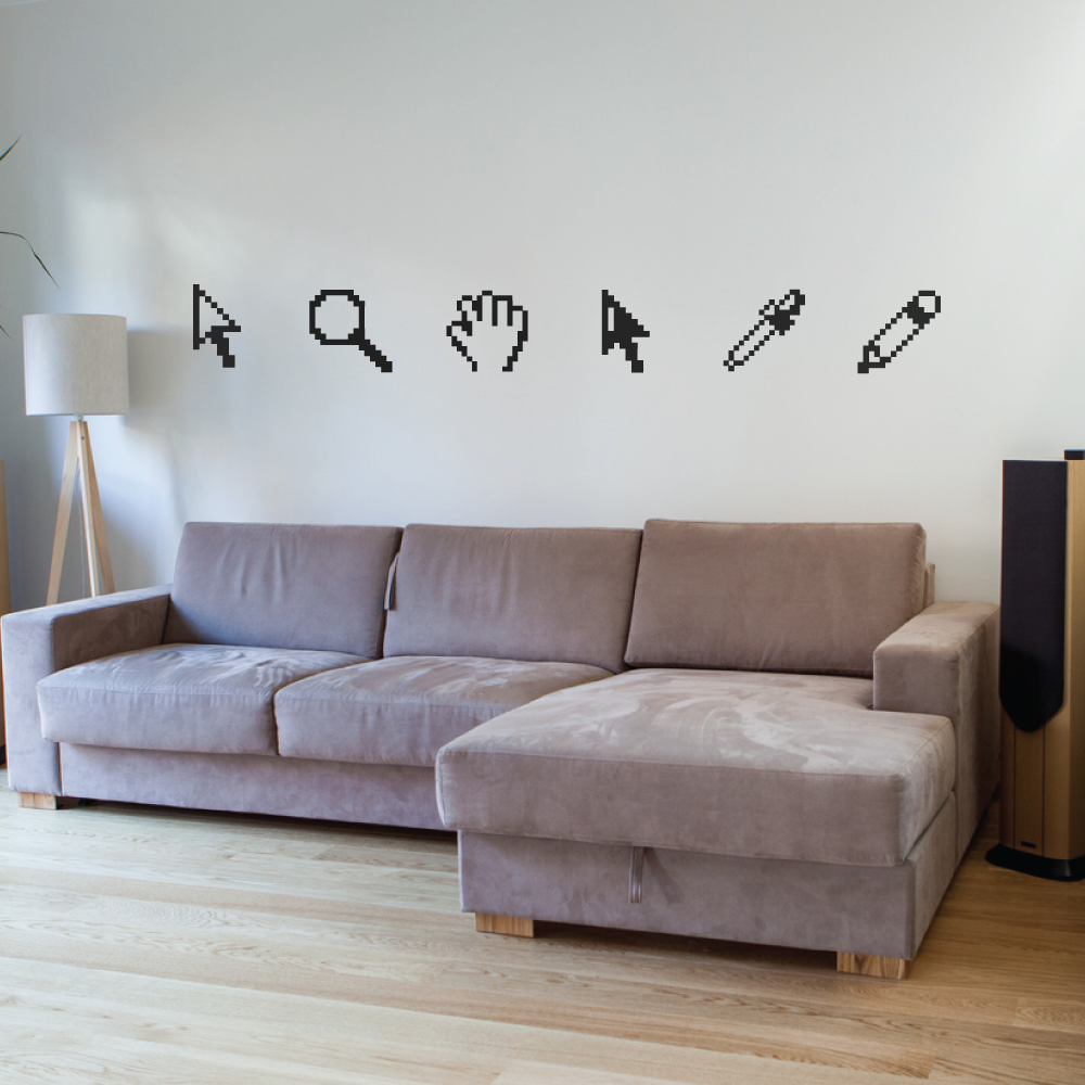 office wall stickers.  Office Pixelated Design Tools Wall Decals Inside Office Stickers O