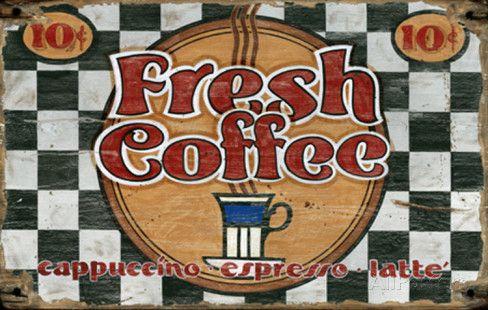 Fresh Coffee Vintage Wood Sign Placa de madeira