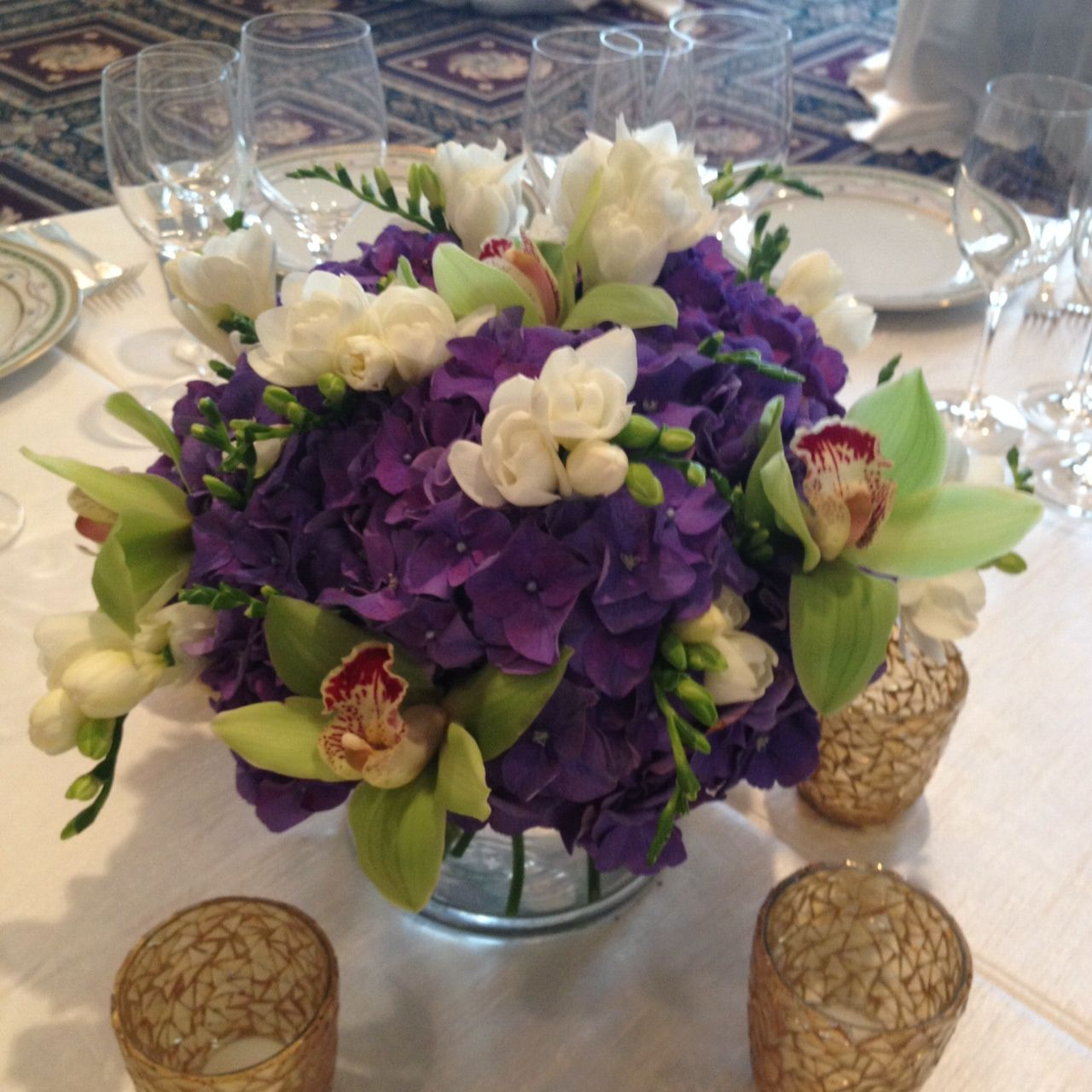 purple centerpieces centerpieces and lighting The