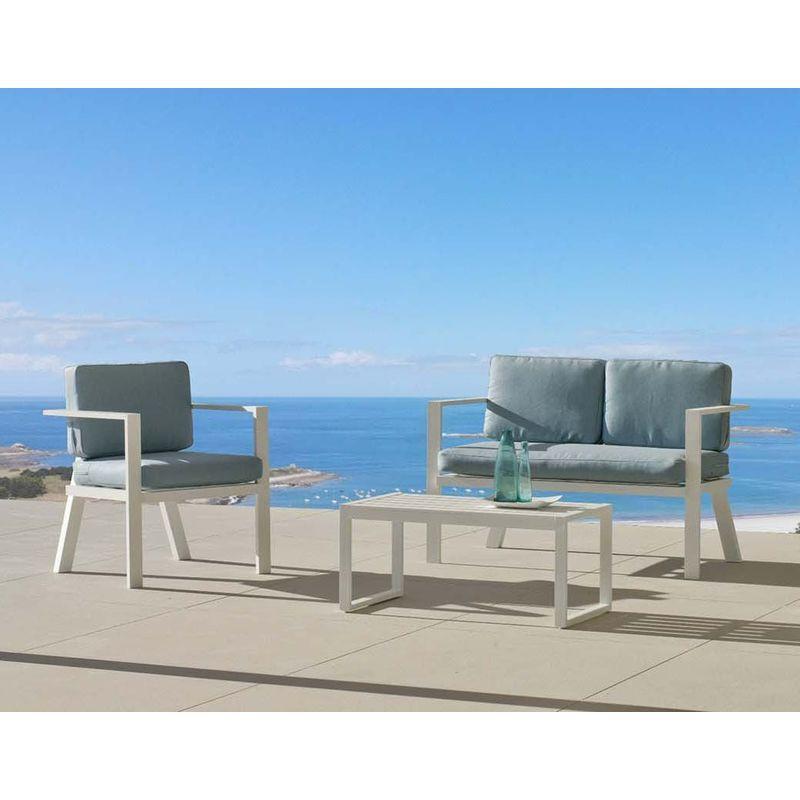 Salon de jardin en aluminium 4 places Awena Blanc - HEVEA in ...