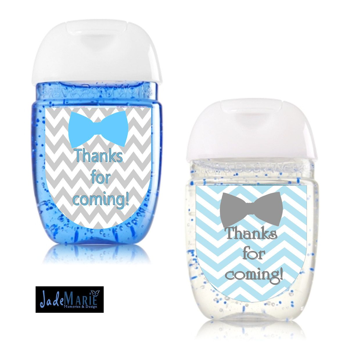 Bowtie Hand Sanitizer Labels Baby Shower Favors- Tiffany Blue & Grey Chevron- Baby Boy Shower By
