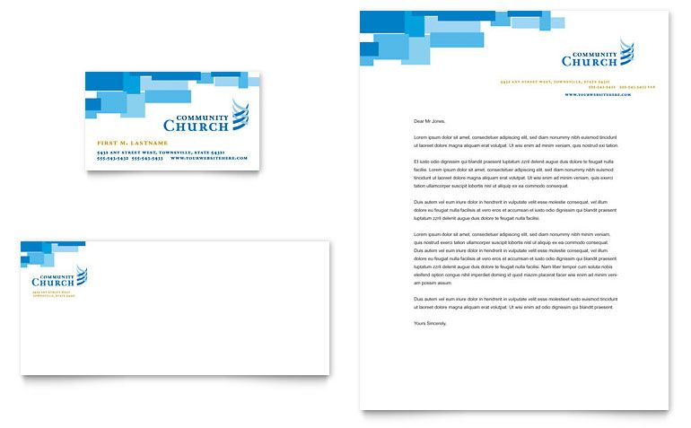 community church business card amp letterhead template word ...