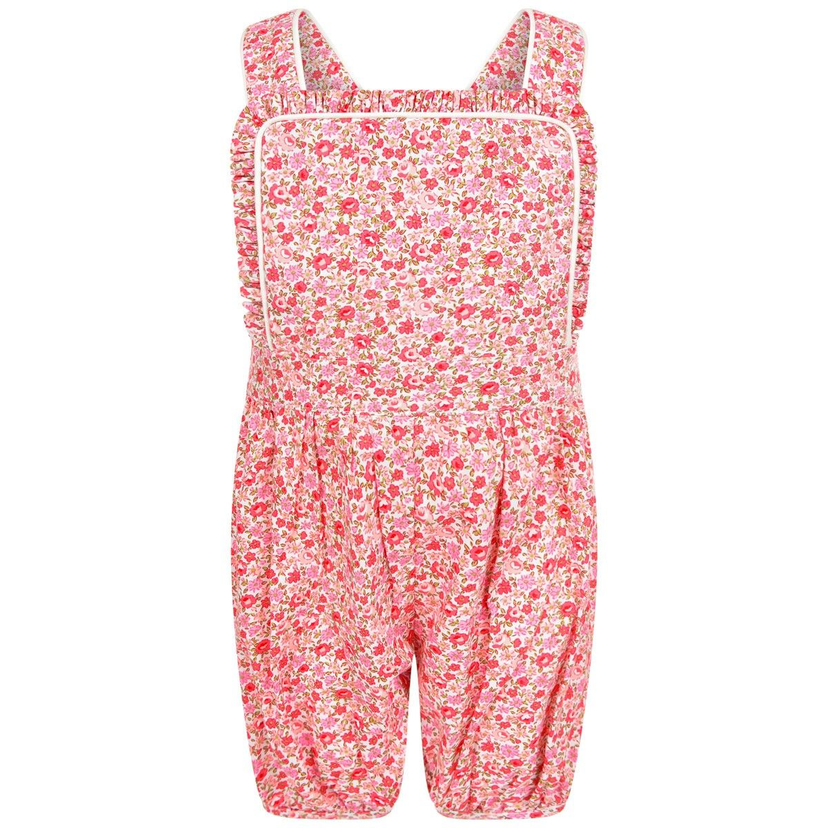 Baby pink dungaree dress  Rachel Riley Pink Floral Frill Dungarees  Baby Girl clothes